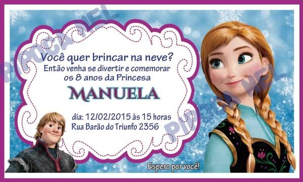 Convite tema frozen (anna) no elo7
