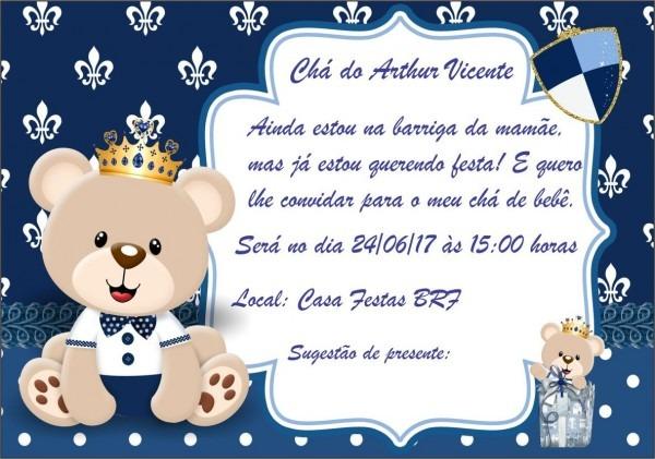 Convite ursinho príncipe azul marinho no elo7