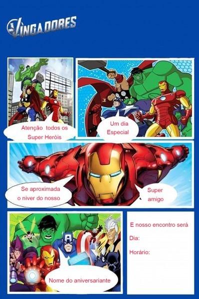 Vingadores hulk convite gibi