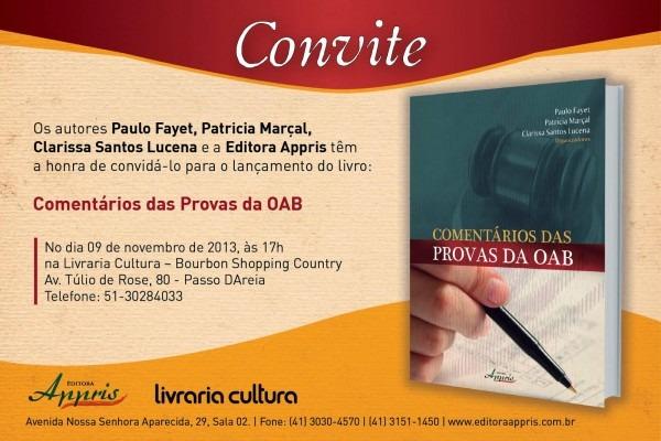 Patrícia fontes marçal  convite para o lançamento do livro