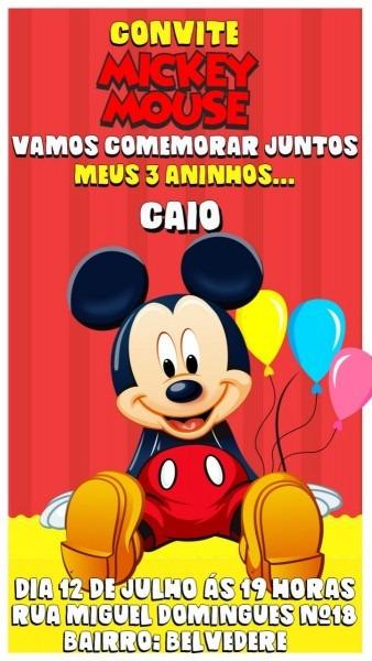 Convite virtual animado para aniversário   mickey mouse mod2