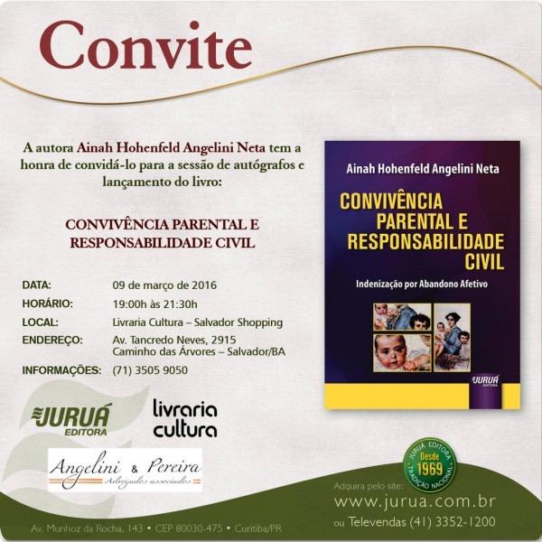 Convite – lançamento do livro e e noite de autógrafos com a autora