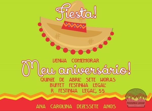 Convite virtual festa mexicana no elo7