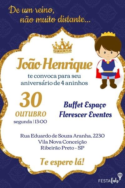 Convite virtual principe realeza no elo7