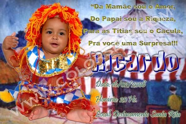 Convite de aniversário de 1 aninho tema circo (ricardo)