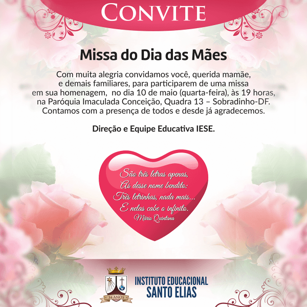 Convite missa das mães