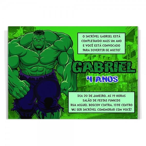 10 convites aniversário infantil hulk vingadores +brinde