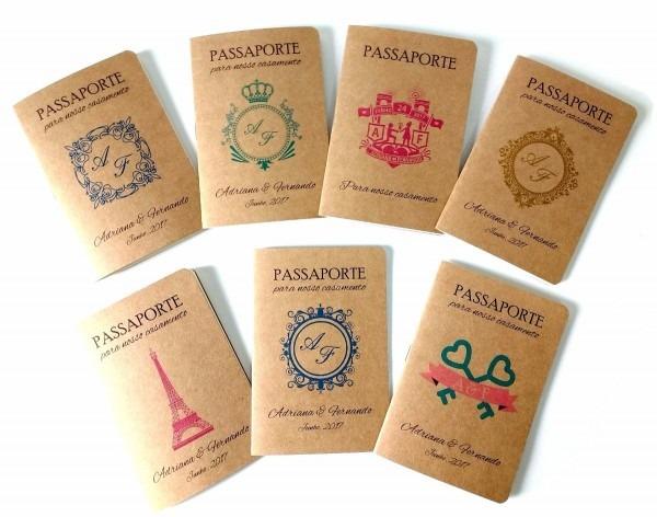 Convites casamento criativo passaporte viagem