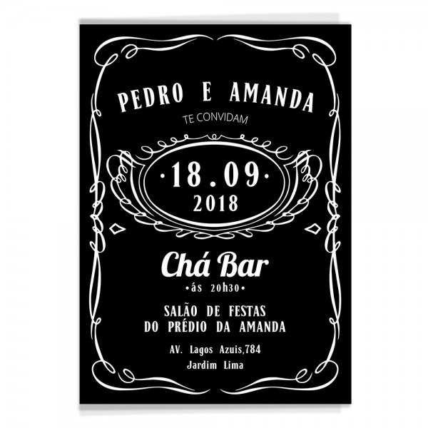 100 convites personalizados chá bar jack daniels + brinde