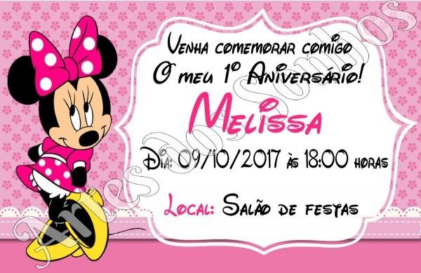 Convites minnie rosa com envelope no elo7