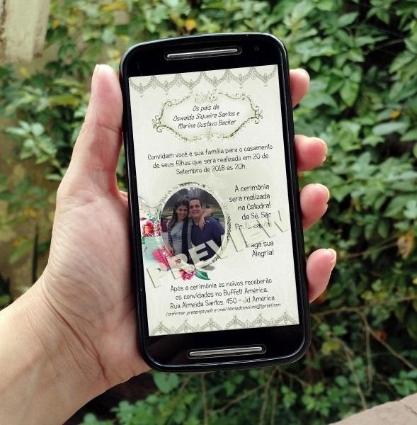 Dois convites digitais casamento e agradecimento c  foto