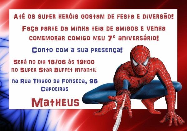 Convites do homem aranha no elo7