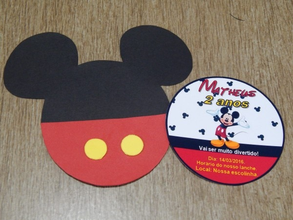50 convites personalizados festa de aniversário do mickey