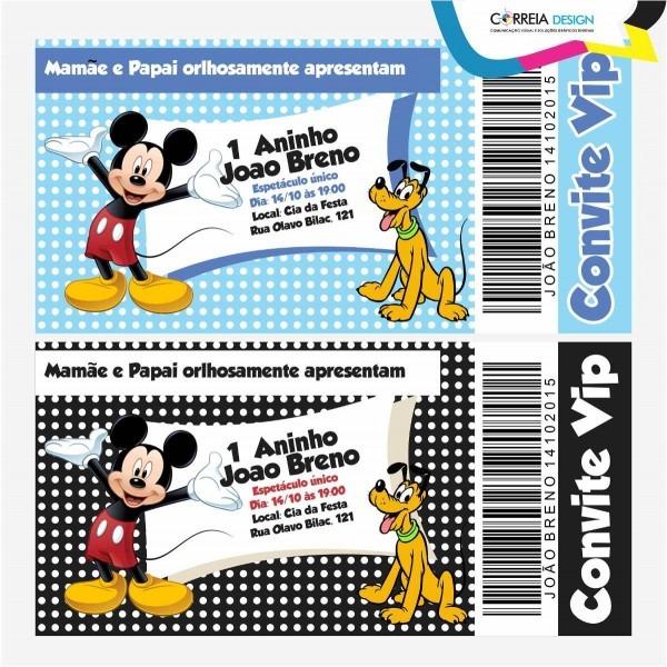 Criar arte final convite mickey mouse tipo ingresso