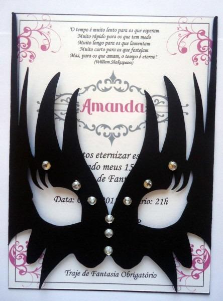 Convite para baile de máscaras, 15 anos, aniversário, noivado, chá