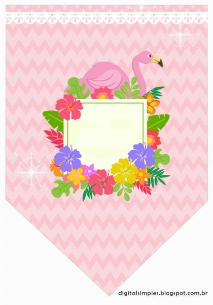 Kit de artes digitais personalizadas tema flamingo cor de rosa