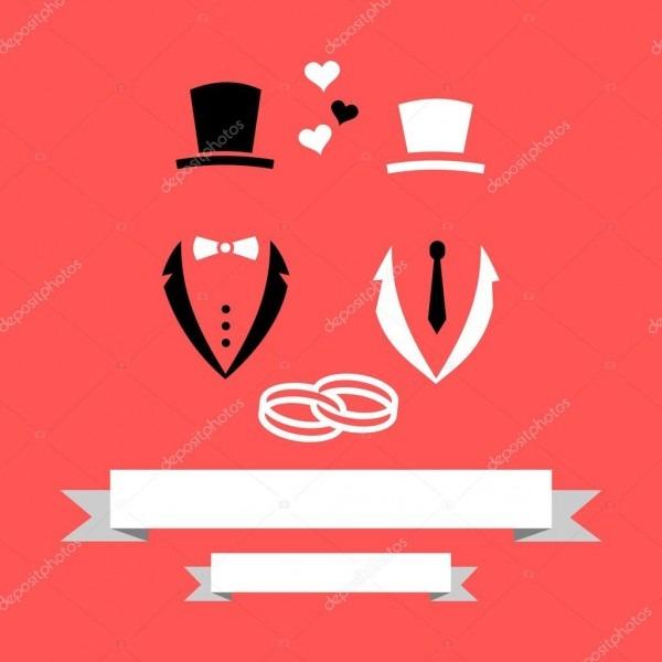 Noivo de casamento gay homossexual e cartão de convite de