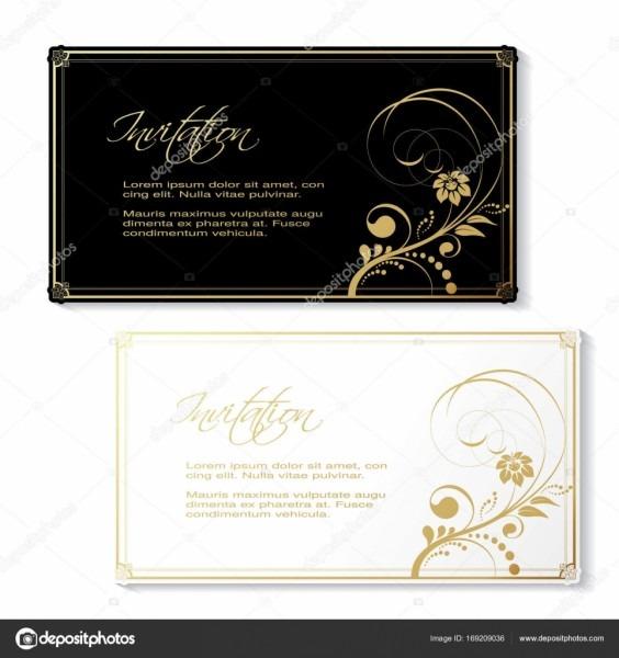 Convite vetor preto branco com dourado design floral moldura