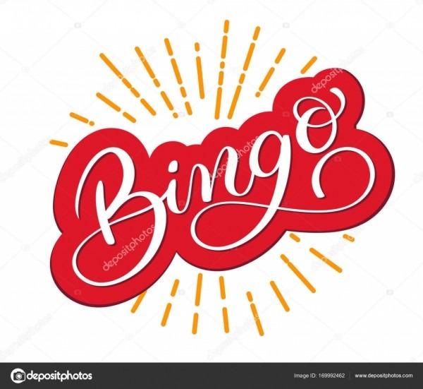 Palavra de bingo  belo cartão arranhou a caligrafia  mão