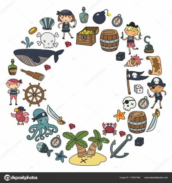 Crianças a brincar aos piratas, meninos e meninas de jardim de