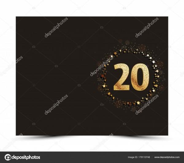 Aniversário de 20 anos decorados saudação   convite cartão modelo