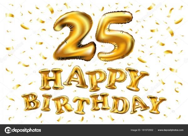 Feliz aniversário 25 anos alegria aniversário  ilustração 3d com