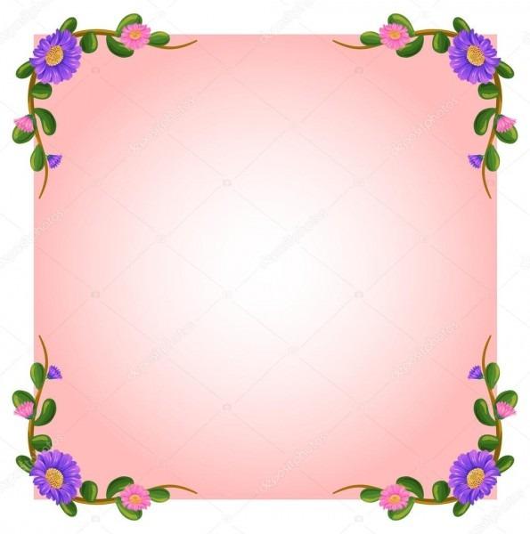 Um vazio modelo rosa com margem floral — vetor de stock