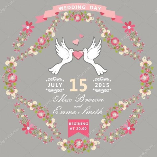 Convite de casamento com pombos e moldura floral — fotografias de