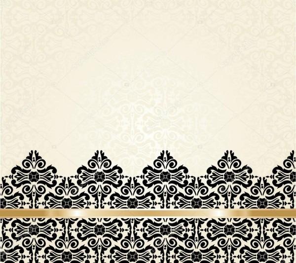 Bege preto e ouro fundo convite vintage — vetor de stock