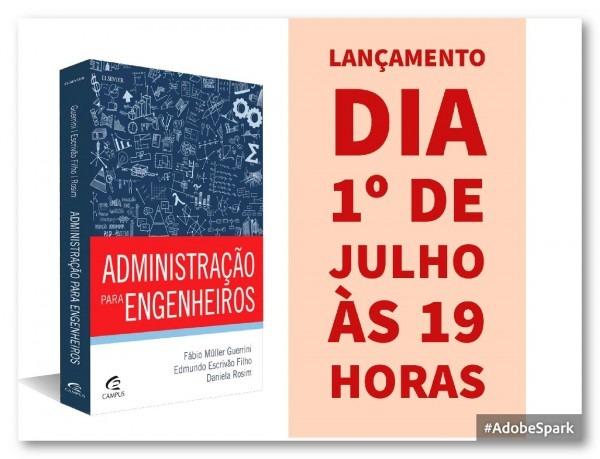 Convite  lançamento do livro  administração para engenheiros