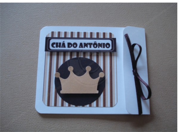 Adri convites artesanais  convite chá de bebê marrom e bege com coroa