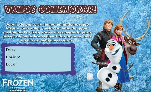 Convites frozen para imprimir