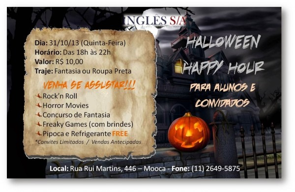 Inglês s a  halloween happy hour!!!