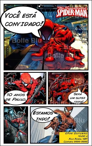 Homem aranha convite hq personalizado no elo7
