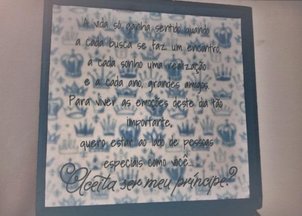 Com 15 anos  convite para os casais e para o prÍncipe