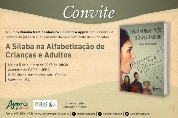 Convite de lançamento do livro  a sílaba na alfabetização de