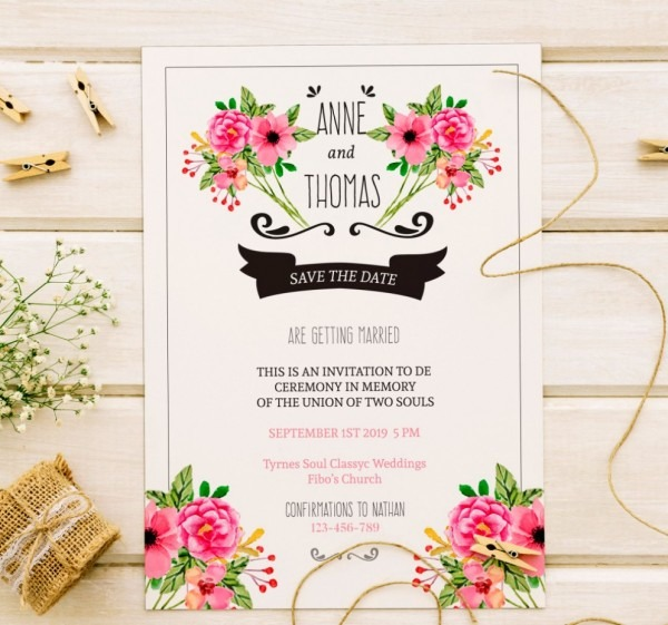 Inspirador convite de casamento gratis para editar online floral