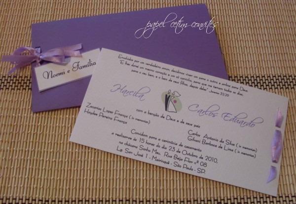 Papel cetim convites  convite de casamento lilas