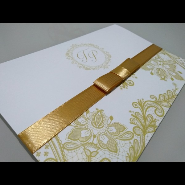 Lindo convite de casamento! com fita de cetim super oferta no elo7