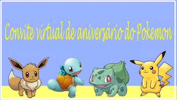 Convite animado de aniversário do pokemon