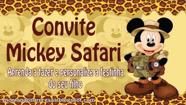 Faça um convite tema mickey safari