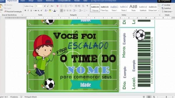 Convite tema futebol