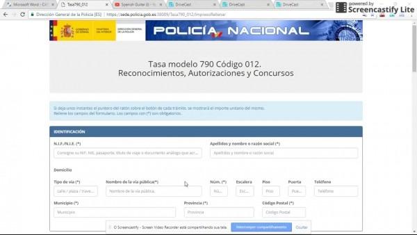 Carta convite formulÁrio 790 cod 012 ,, legal na espanha
