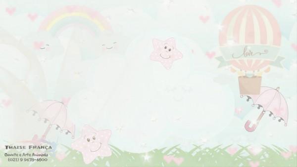 Convite animado chá de fralda chuva de amor