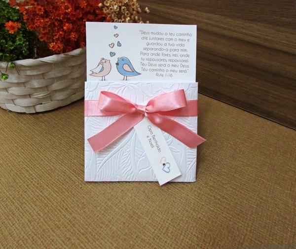 Mini convite pombinhos no elo7