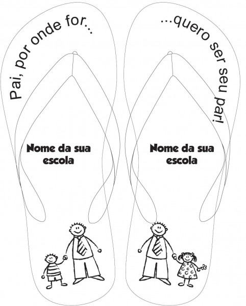 Hideia festa  chinelos personalizados para o dia dos pais