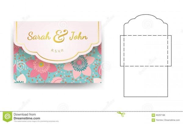 Molde do convite do casamento do envelope com teste padrão de flor