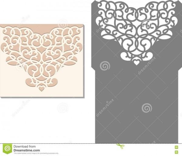 O laser cortou o molde do envelope para o cartão de casamento do