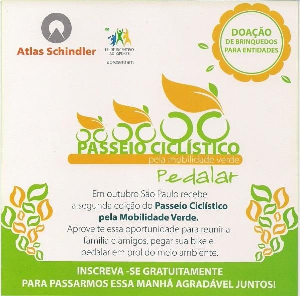 Convite para passeio ciclístico no parque ecológico do tietê em 14