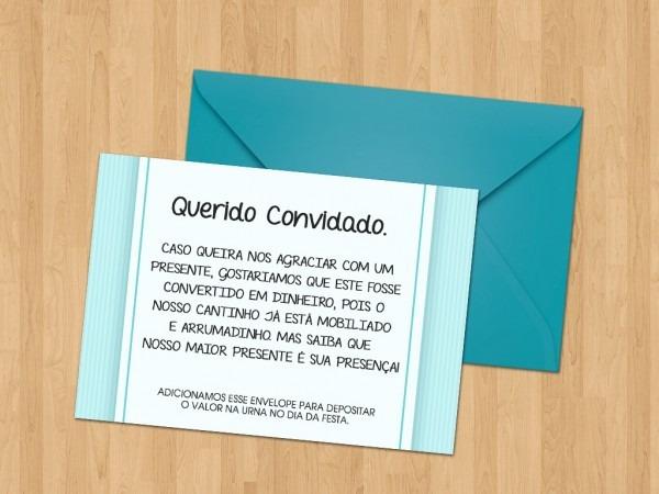 Envelope com sugestão de presente no elo7